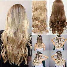 UK 100% Real As Human 3/4 Full Head Clip in Hair Extensions 5 Clips One Piece hf