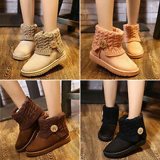 Women's Knit Thicken Snow Suede Boots Winter Lady Wool Short Booties Warm Shoes