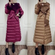 Fashion Women's Casual Slim Down Cotton Warm Long Coat Fur Collar Solid Overcoat