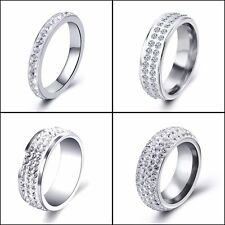 Stainless steel 2-Row Cubic Zirconia Wedding Womens Mens Rings Size 7 8 9 10 11