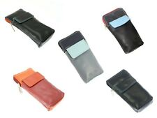 High Quality Soft Leather Spectacle / Glasses Case Holder - Black, Red, Blue