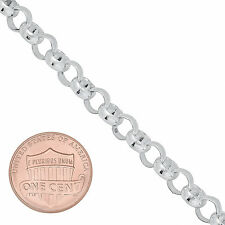 Solid 925 Sterling Silver 6mm Rolo Cable Link Italian Crafted Chain