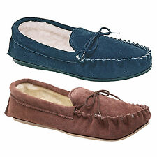 Mens Navy Blue Or Dark Taupe Real Suede 'Sheridan' Moccasin Slippers UK 6 - 13