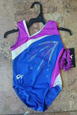 New GK Elite Gymnastics Leotard Adult Medium Shiny Royal Treatment Leotard