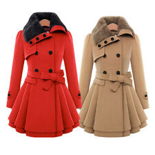 Womens Winter Warm Double Breasted Trench Coat Jacket Faux Fur Parka Overcoat