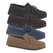 Mens New Black Brown Navy Or Taupe Suede Moccasin Bruce Slippers UK 6 - 15