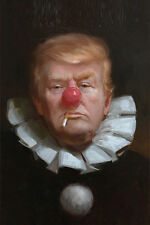 100% Hand Painted Portrait Oil Painting on Canvas Joker Donald Trump 24''x36''
