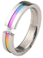 Gay Pride Stainless Steel Rainbow Anodized Tension Gem Ring Size 12 or 13