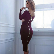 Women Dresses Back Zipper Knit Bodycon Long Sleeve Clubwear Cocktail Mini Dress
