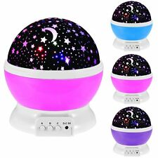 LED Rotating Star Projector Light Romantic Night Sky Starry Projection Bed Lamp