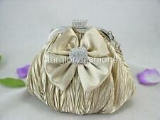 Champagne Cute Crinkled Crystal Bow Wedding Clutch Purse & Other Colors