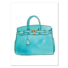 Hermes Birkin handbag aqua Print Poster Canvas Watercolour Art Print (pcint)
