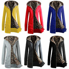 Womens Lady Hooded Coat Jacket Leopard Zip up Winter Warm Long Parka Outwear US