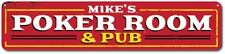 Poker Room & Pub Sign, Personalized Name Man Cave Sign, Metal Man - ENSA1001401