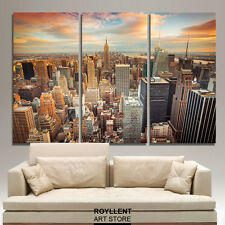 Framed Canvas Painting Picture Print Wall Art Decor Landscape New York City 3pc