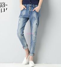 New Ripped Holey Jeans Pants Skinny Casual Women's Harem Pants Ninth pants -84