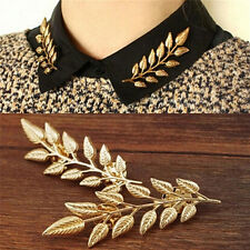 1Pair Delicate Broochs Vintage Leaf Shirt Collar Pins Brooches Silver/Gold