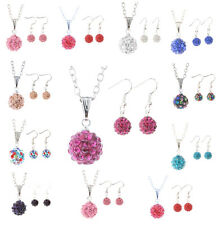 Fashion Jewelry Women Crystal Rhinestone Disco Ball Necklace Earring Pendant Set