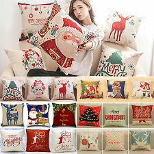 Christmas Xmas Theme Linen Sofa Cushion Cover Throw Pillow Case Home Bed Decor
