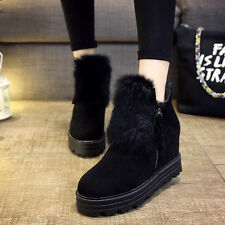Womens  Ankle Boots Faux Fur Suede Side Zip Hidden Heels Wedge Snow Shoes Winter