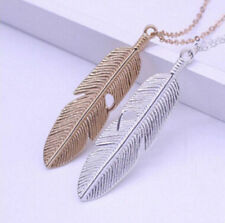 Statement New Chain Vintage Jewelry Necklace Feather Sweater Long Pendant Women