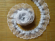 Dot Pleated Lace Trim Gathered Mesh Wedding Dress Ribbon Applique Sewing Craft
