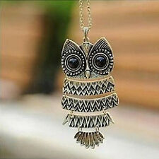 New 2016 Retro  bronze  Vintage  Necklace Hot Silver Owl Pendant Long Chain