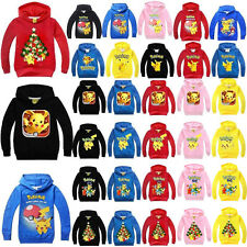 Kids Pokemon Pikachu Hoodie Girl Boys Hoody Tops Sweatshirt Coat Outfits Clothes