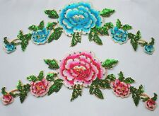 2pcs Embroidered Pink/Blue Sequins Flower Patch Iron/Sew on Appliques FT21