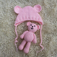 Newborn Baby Girl Boy Bear+Hat Set Knitted Costume Infant Photography Prop Photo