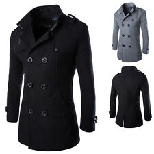 Mens Slim Winter Wool Double Breasted Trench Coat Warm Jacket Parka Peacoat XL L