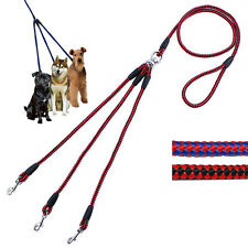 Vogue 3 Way Pet Dog Nylon Woven Coupler Leash No-Tangle 3 Small Dog Walking