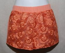 Juniors NWT Blu Pepper Coral Peach Floral Lace Front Shorts S M L Summer Spring