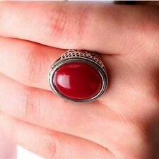 Mens Charm Metal Fashion Red Oval Stone Crown Motor Biker Finger Ring Size 8-10