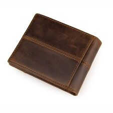 Fashion New Men's Genuine Cow Leather Fashion Brown Color Purse Wallet Billfold