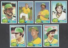 Oakland A's 1981 Topps Traded team set - Cliff Johnson, Fred Stanley, Underwood