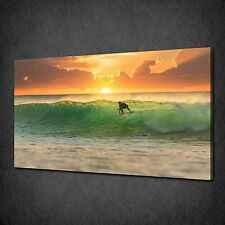 PERFECT WAVE SURFING IN THE SUNSET CANVAS WALL ART PRINT PICTURE READY TO HANG