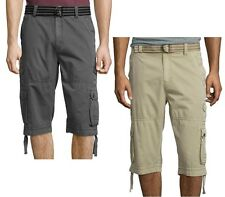 Plugg Mens Defender Belted Twill Messenger Cargo Shorts Cotton sizes 30 31 NEW
