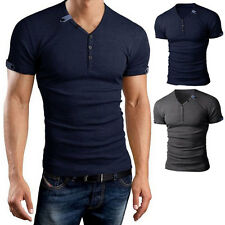 New Fashion Mens Slim Fit V-neck Cotton Casual T-shirt Short Sleeve Muscle Shirt