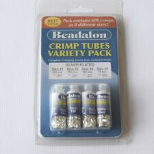 BEADALON SILVER PLATED CRIMP TUBES PACK *0.8mm-2mm *600pcs *JEWELLERY MAKING
