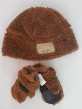 NWT Baby Gap Furry Brown warm hat / mittens gloves Size XS S or M L NEW