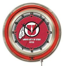 University of Utah Utes Logo Neon Wall Clock