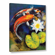'Koi Fish and Water Lily' Gallery wrapped canvas