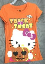 girls halloween Hello Kitty t-shirt, 100% cotton, orange or black   S, L, or XL