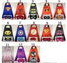 kids superhero cape + Mask Fancy Dress Costume Superman Spiderman batman NEW UK