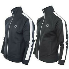 Fred Perry Classic Black Zip Sweat Jacket Tracksuit Track Top Mod Retro New