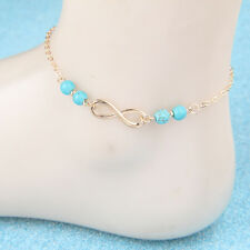 Turquoise Bead Chain Anklets Gold Filled Boho Ethnic Barefoot Beach New