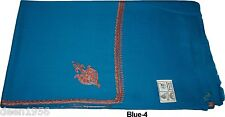 Elegant Hand Embroidered Kashmir Pure Natural Wool Large Shawl SUS Blue-4