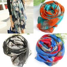 Womens Fashion Big Flower Floral Print Voile Scarf Long Shawl Wrap Country Style