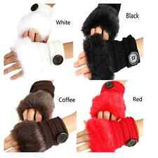 Winter Warm Women Button Faux Fur Knit Crochet Fingerless Wrist Soft Gloves